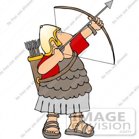 Roman Archer Soldier in Uniform, Sandals and Gold Helmet, Aiming a.