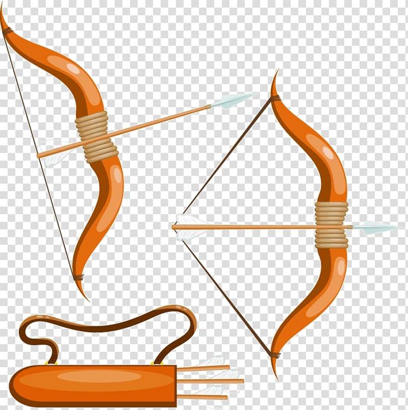 Bow and arrow Arc Quiver, Cartoon bow and arrow material.