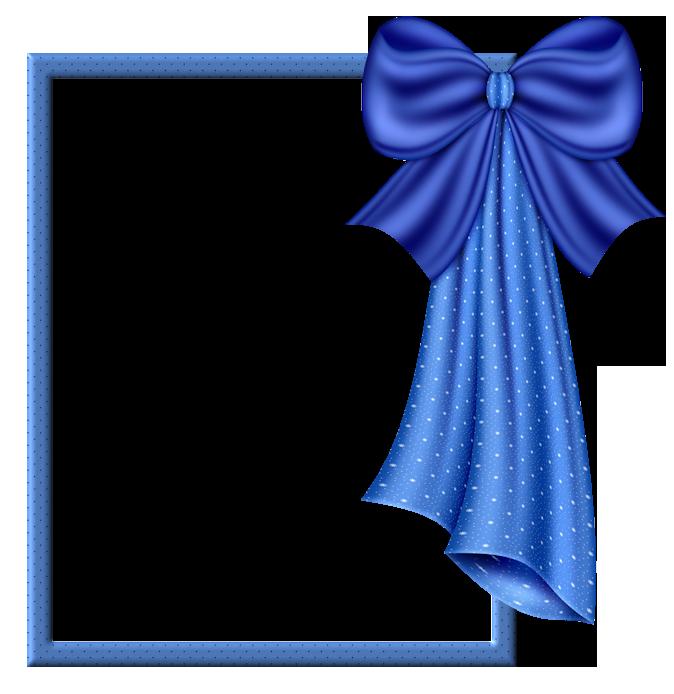 Blue Transparent Frame with Big Blue Bow.