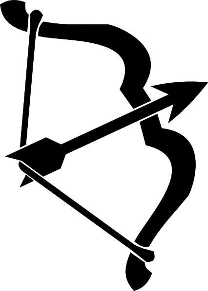 Bow hunting clipart archery black and white.