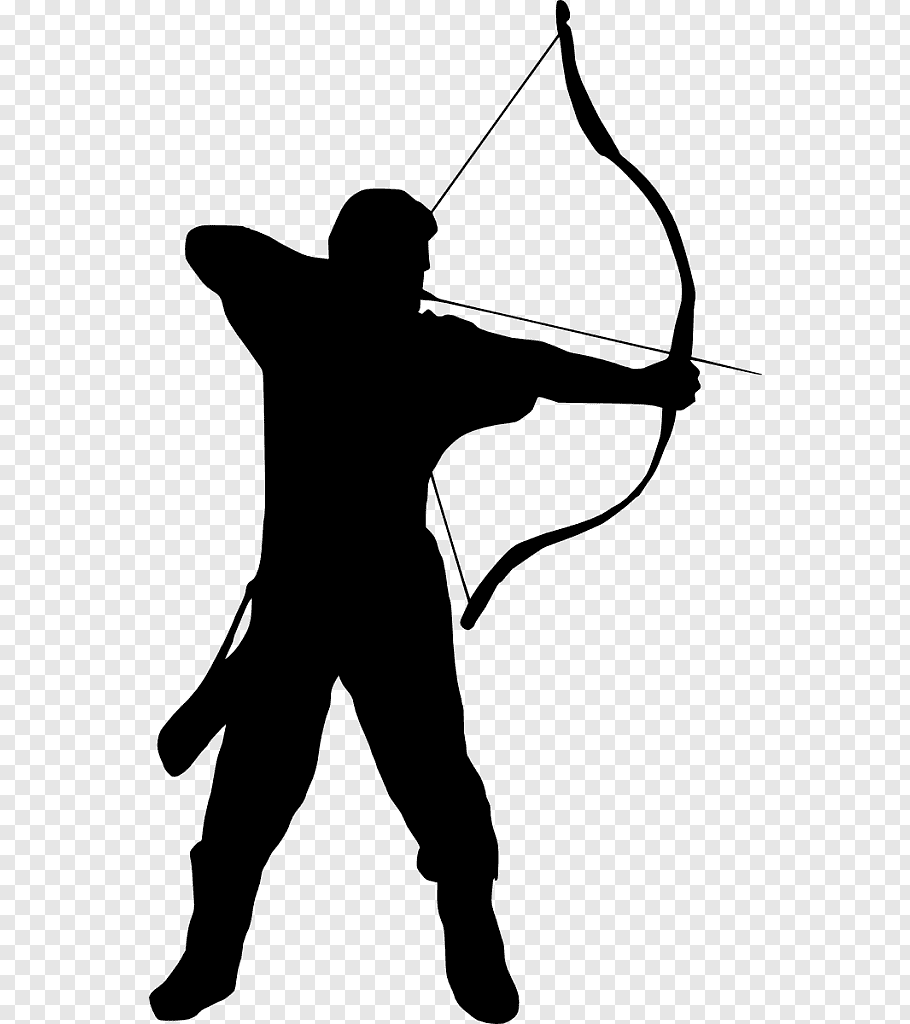 Silhouette of man holding bow, Archery Silhouette graphy.