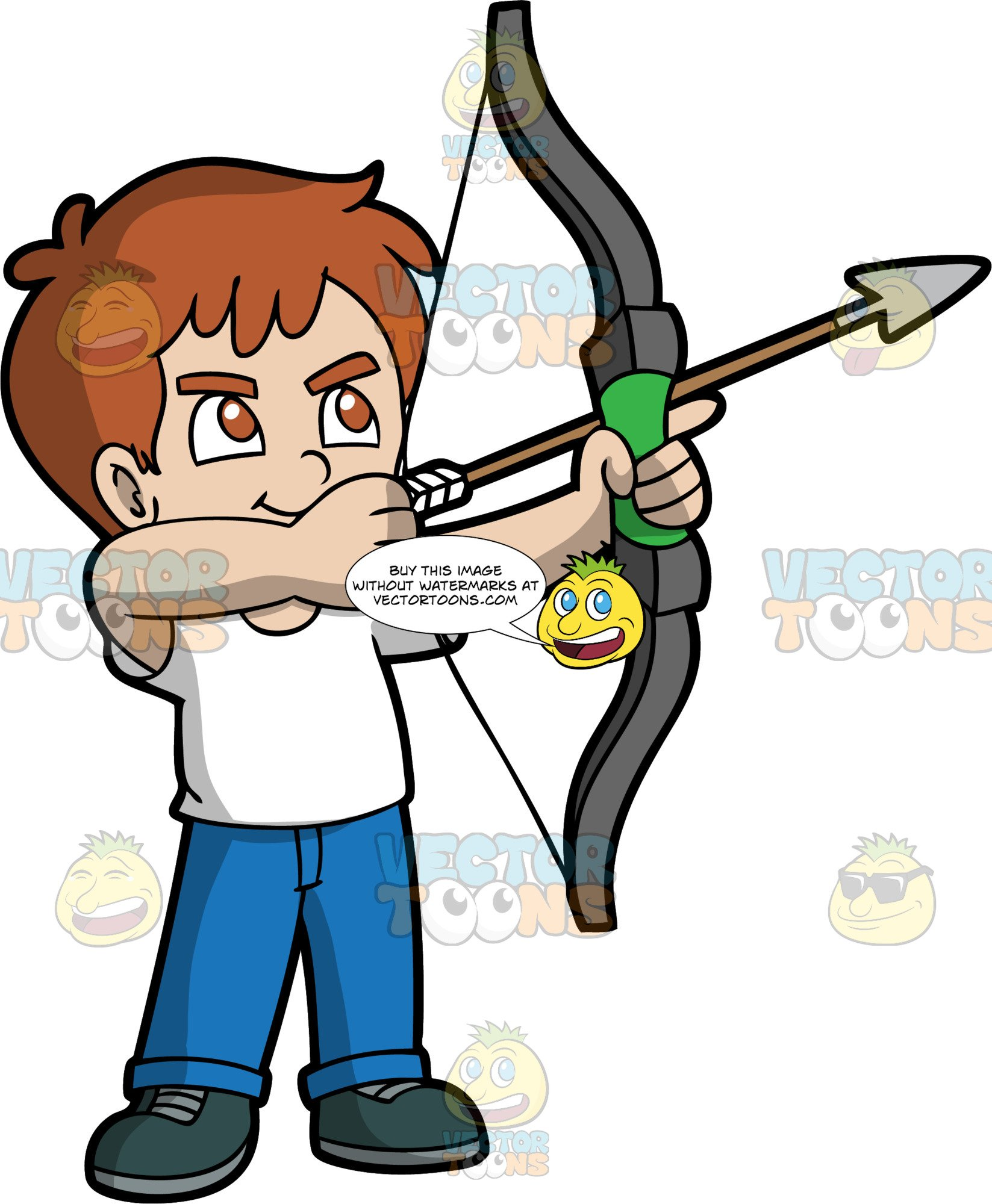 Light Skin Boy With Brown Hair Holding A Bow And Arrow.