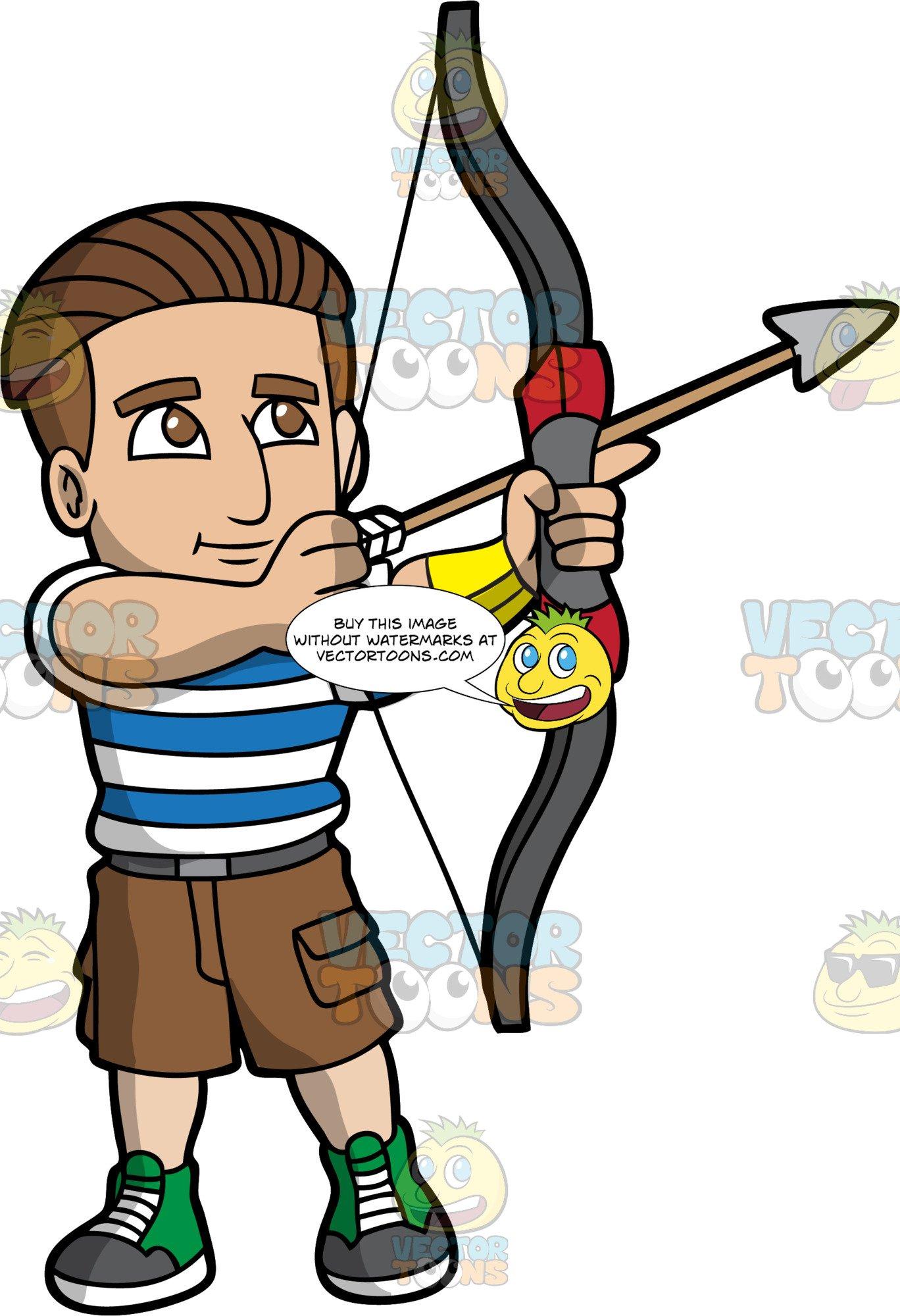 A man loading an arrow into his archery bow.