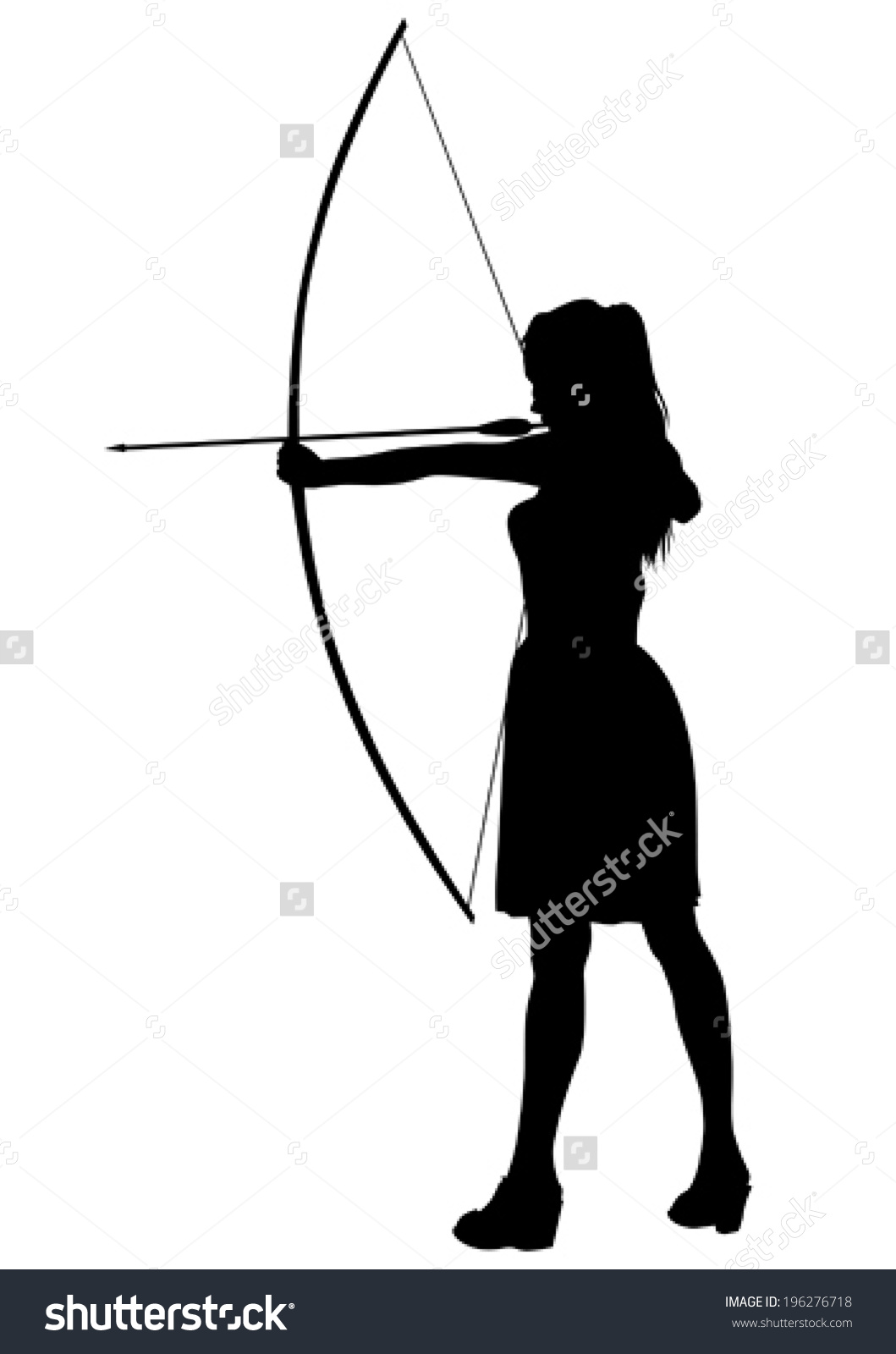 Silhouette Girl Bow On White Background Stock Vector 196276718.
