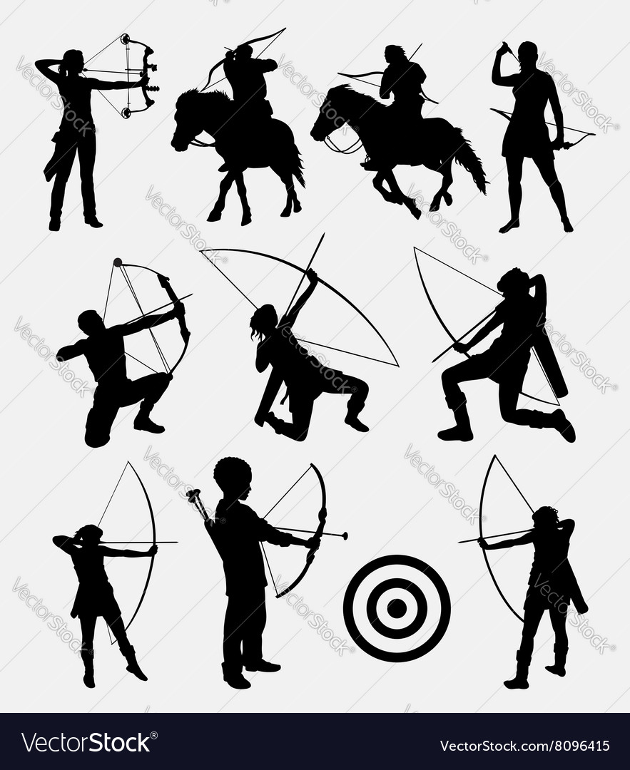 Archery male and female sport silhouette Vector Image by.