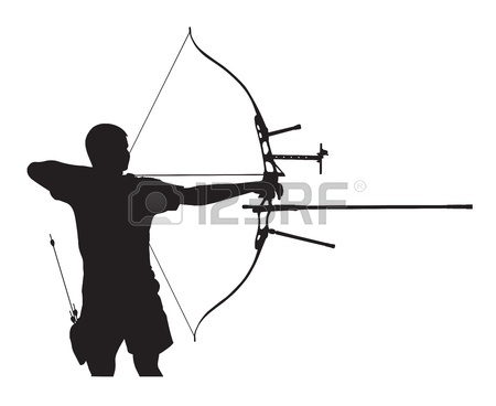 Silhouette of archer stretching the bow and aiming Stock Vector.