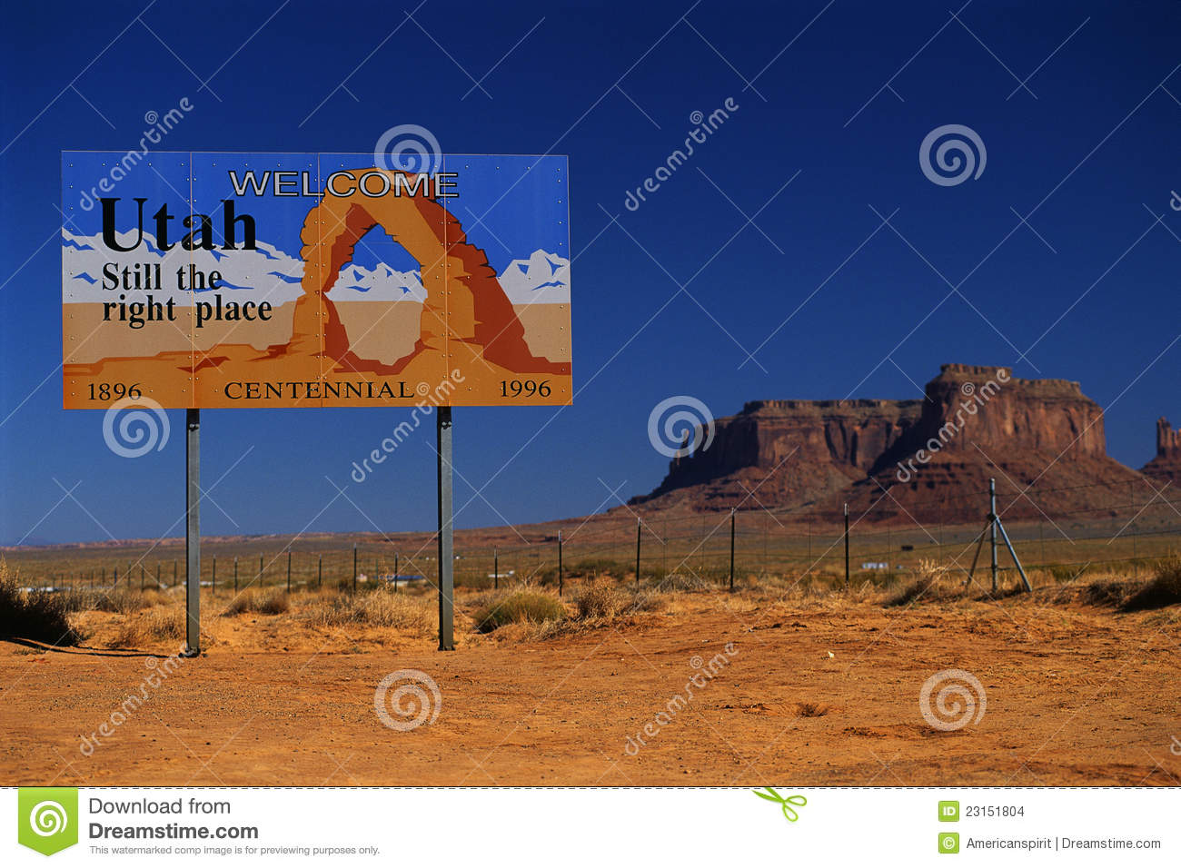 Arches National Park Entrance Sign Stock Photo.