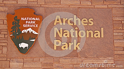 Arches National Park Sign Stock Image.