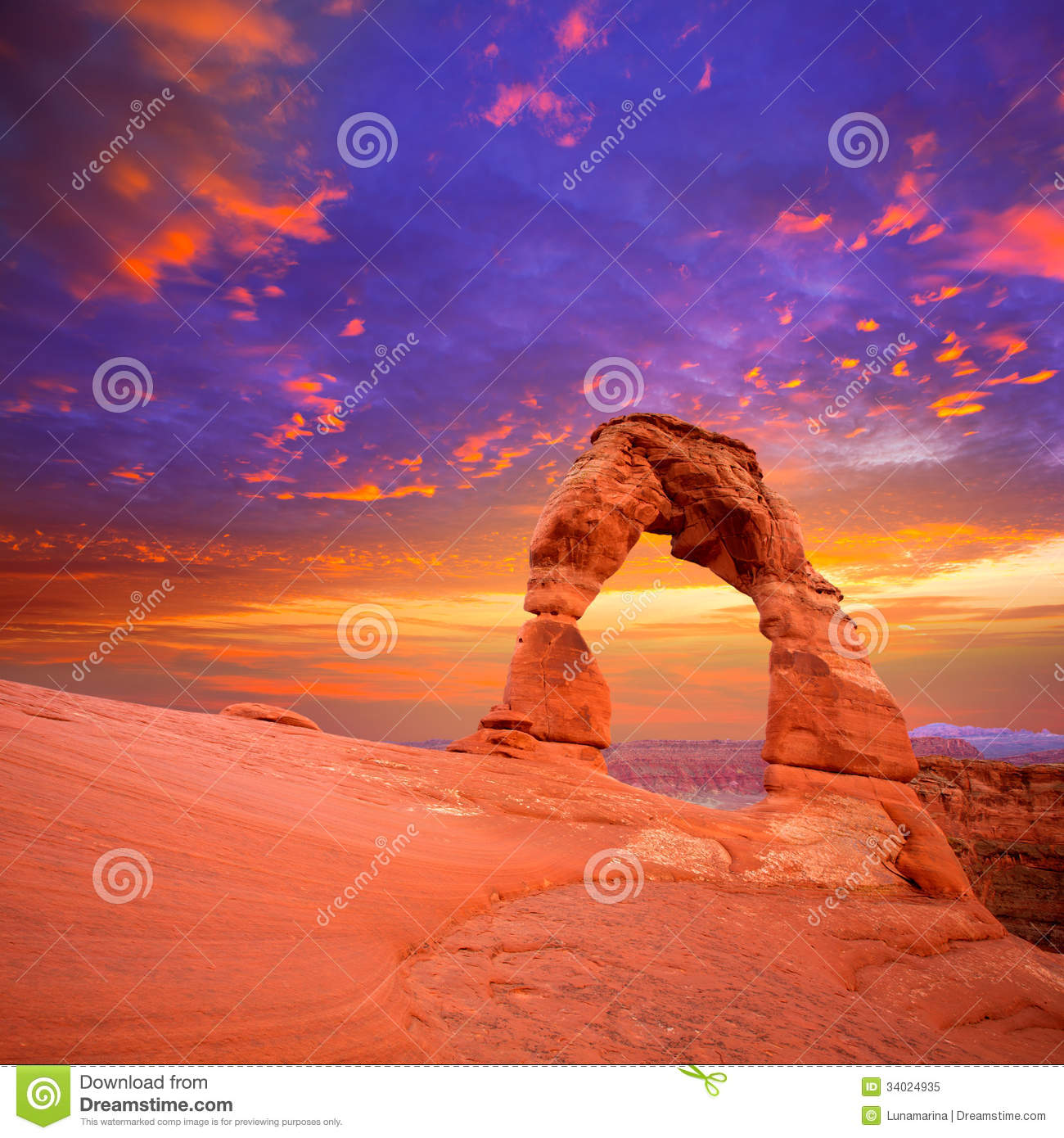 Arches National Park Delicate Arch In Utah USA Royalty Free Stock.
