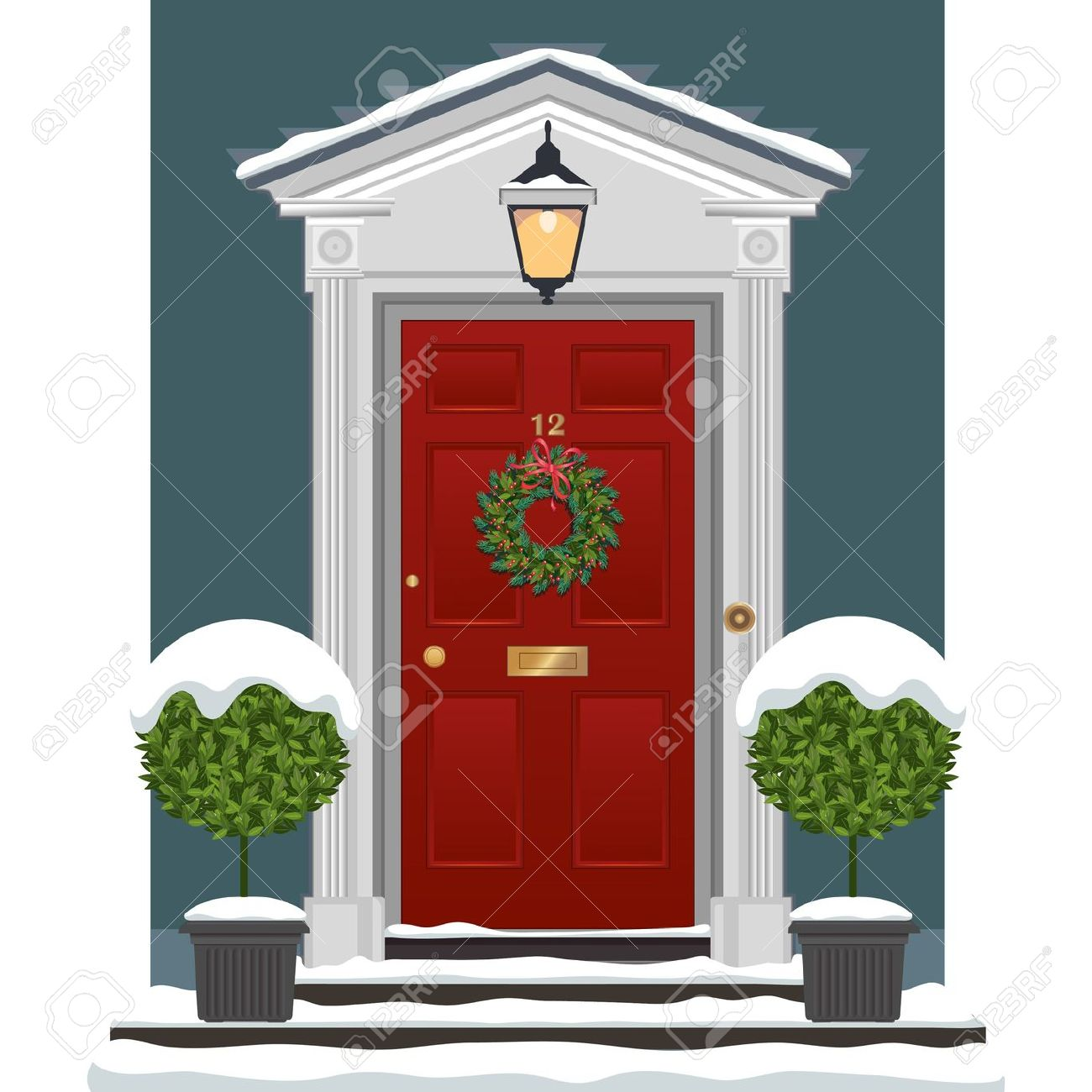 Red Painted Front Door With Christmas Wreath In The Snow. Royalty.