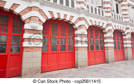 Stock Photography of Colorful Facade of Fire Station in Singapore.