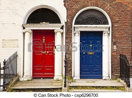 Stock Photography of Red and Blue Doors.