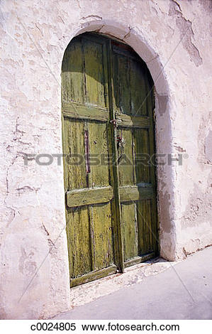 Stock Image of green, arch, architecture, door, paint, outdoors.