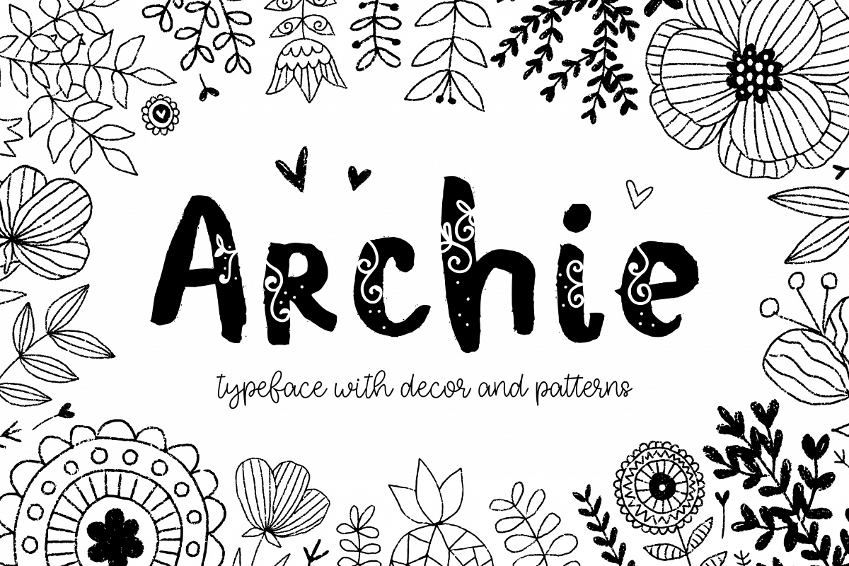 Archie typeface with Clipart.