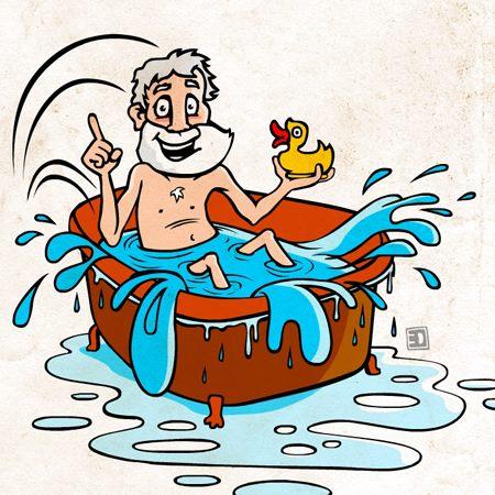 Archimedes Bath Tub Clipart.