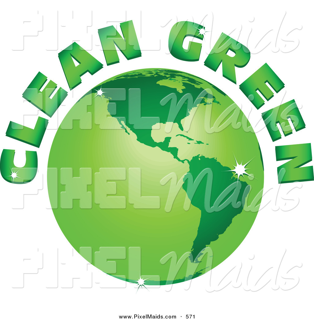 Clipart of a Clean Green Text Arching Around a Green Sparkling.