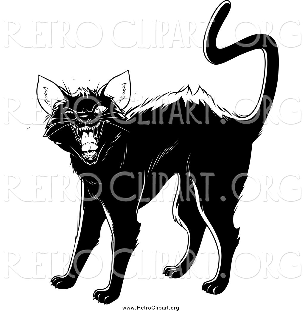Retro Black Cat Clipart.