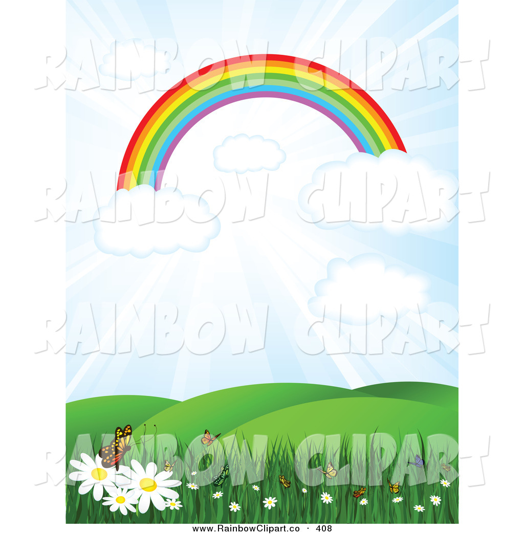 Vector Clip Art of an Arching Rainbow on Clouds in a Sunny Sky.