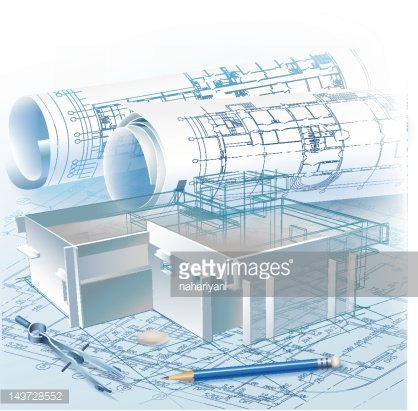Architectural background with a 3D building model Clipart.
