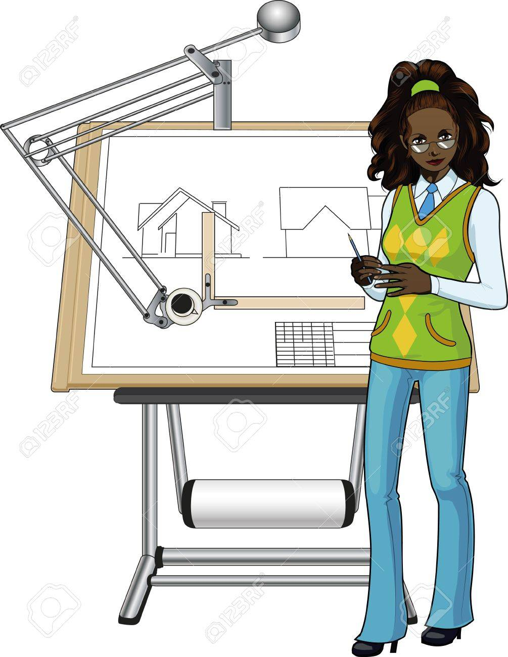 Female architect of african race presenting her blueprint.