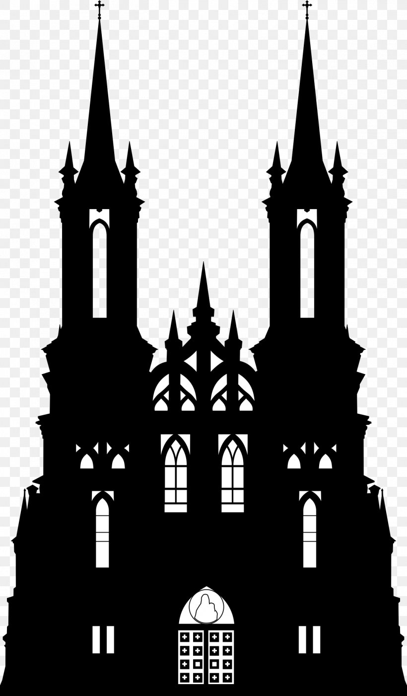 Silhouette Gothic Architecture Castle Clip Art, PNG.
