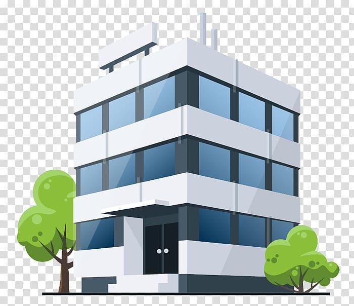 White and blue concrete building illustration, Building.