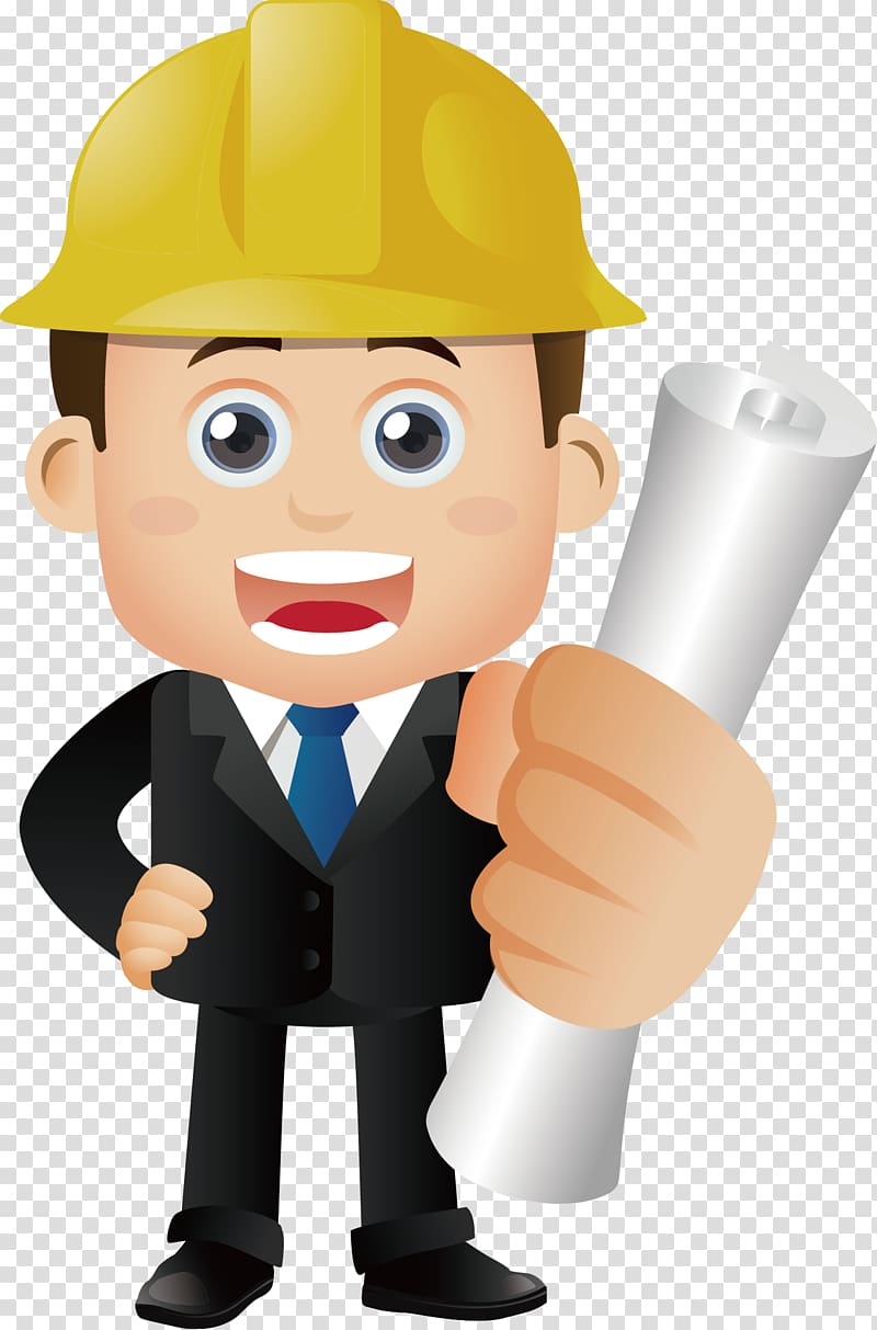 Man holding paper illustration, Architectural engineering.