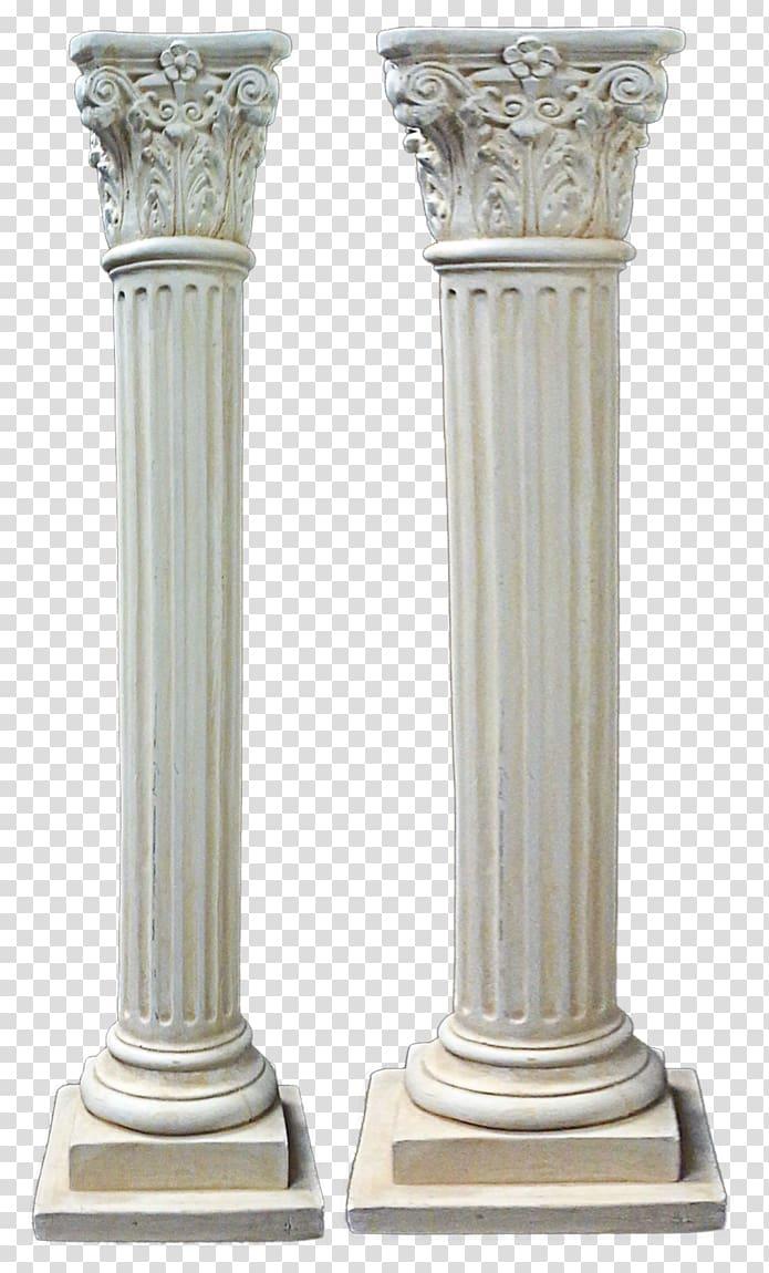 Two white pedestal columns, Column Ancient Greek.