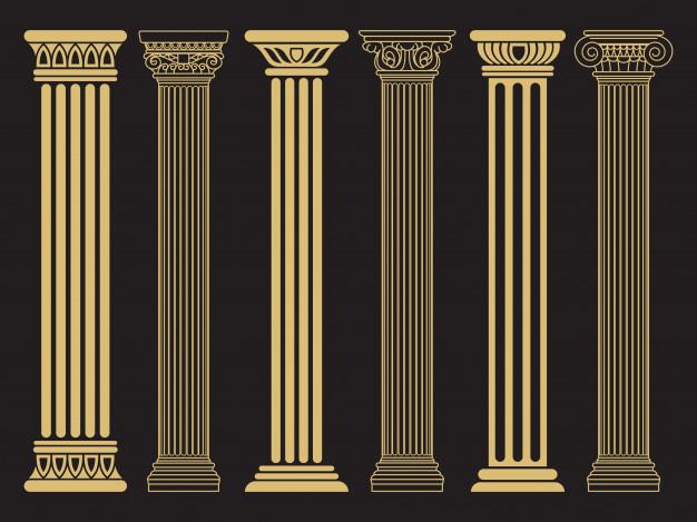 Elegant classic roman, greek architecture line and.