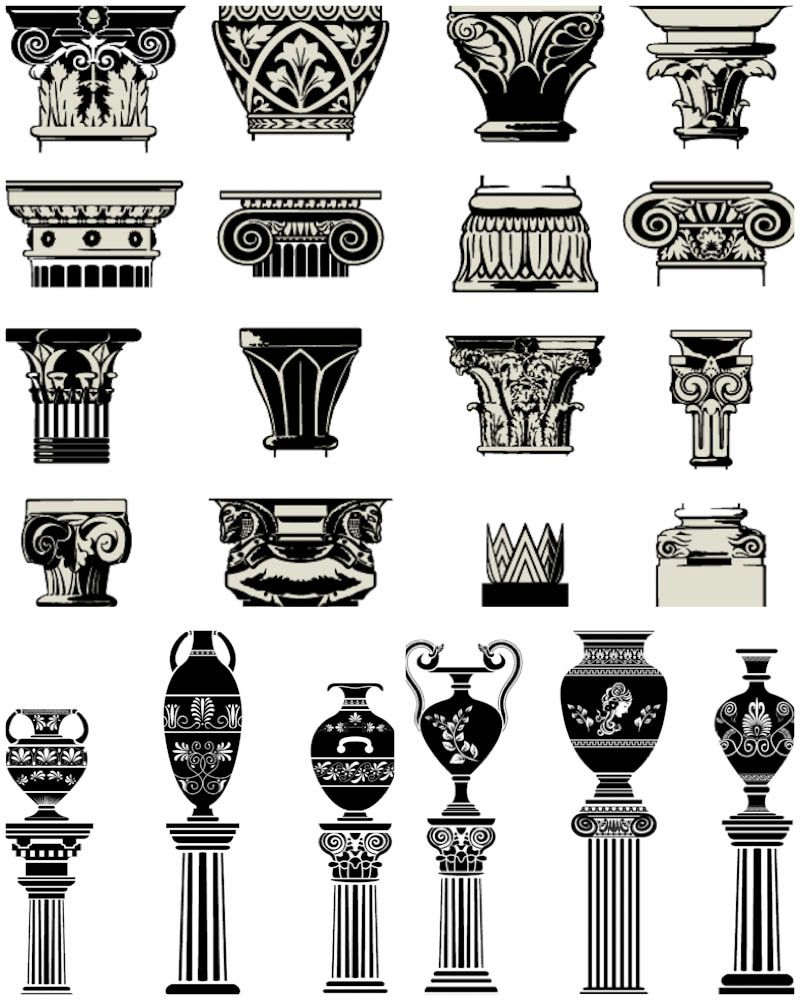 Column capitals vector. 3 sets with vector ancient column.