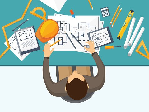 Vector illustration. Engineering and architecture. Drawing.