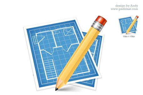 Architectural blue print icon (PSD) Clipart Picture.