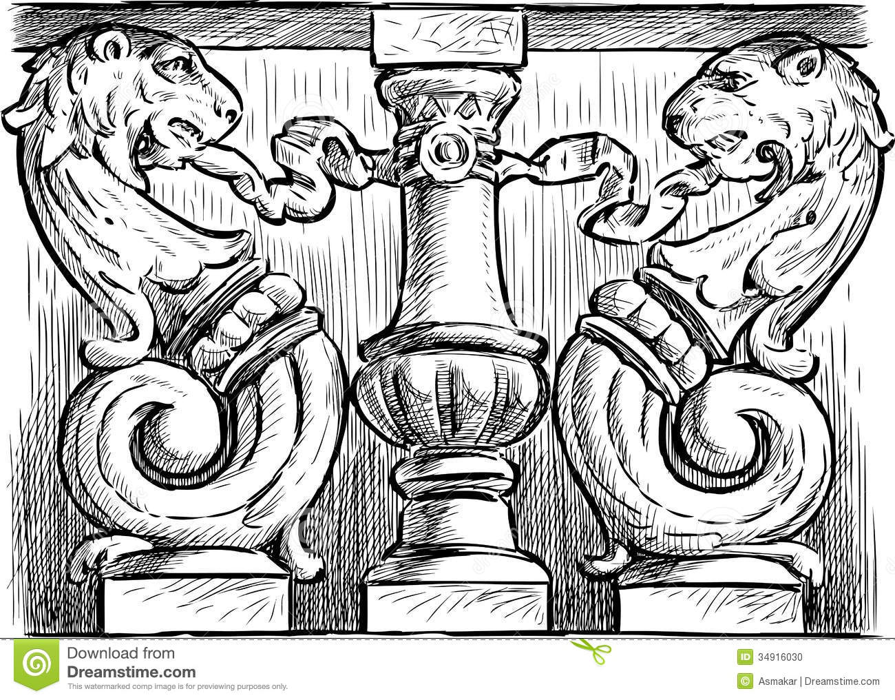 Ornate Architectural Detail Stock Photo.