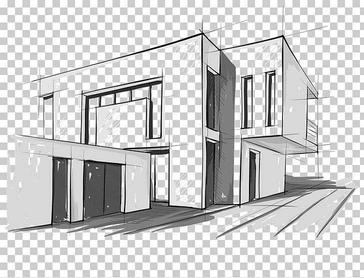 Modern architecture Architectural drawing Sketch, design PNG.
