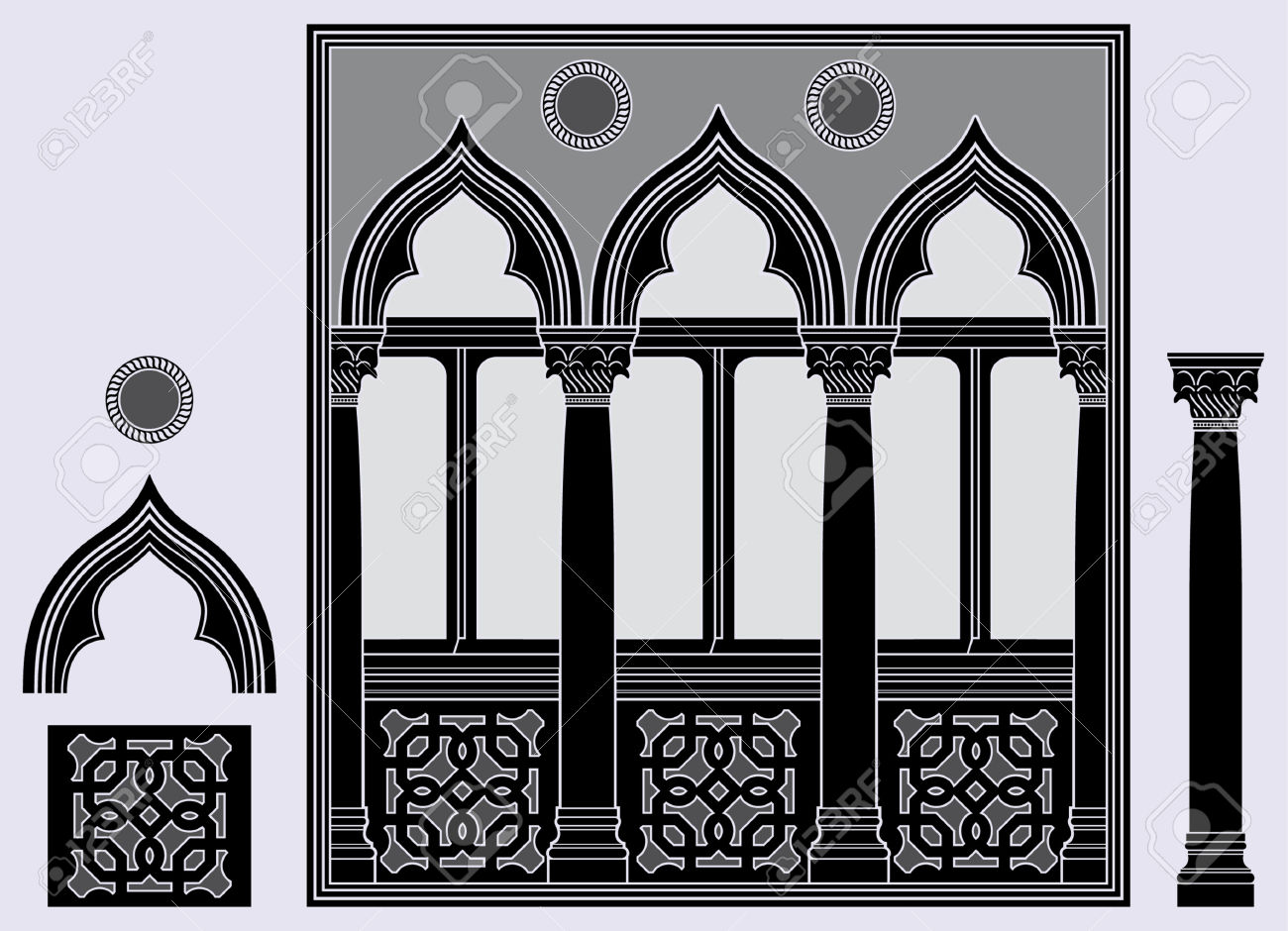 Three Light Window And Architectural Elements Royalty Free.