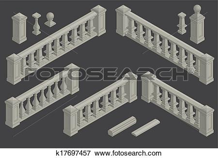 Clip Art of set of architectural element balustrade, vector.