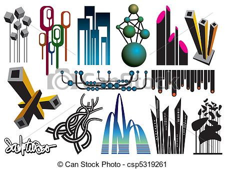 Vector Clip Art of Architectural Elements.