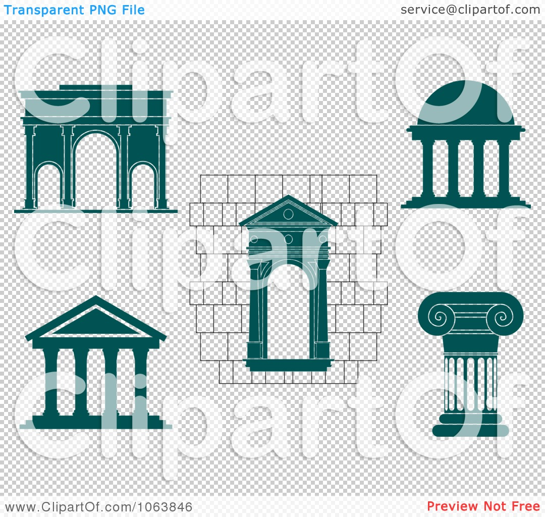 Clipart Architectural Elements Digital Collage.
