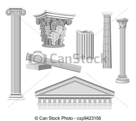 Clip Art Vector of Antique Architectural Elements isolated on.