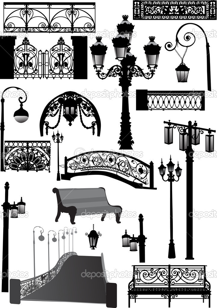 Bridge and other architectural elements — Stock Vector © Dr.PAS.