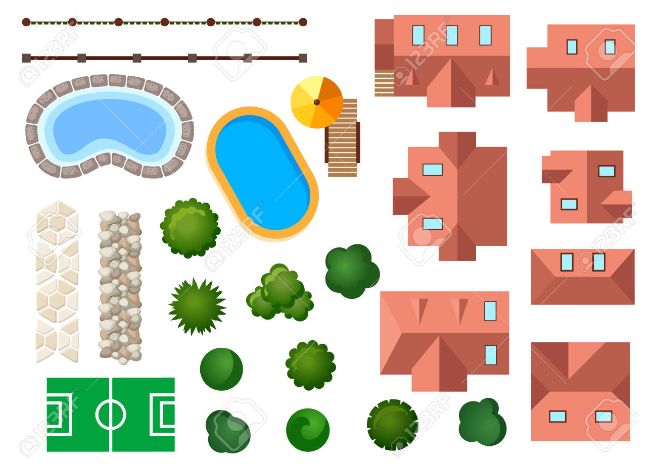 Landscape, Garden And Architectural Elements With Houses, Swimming.
