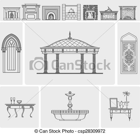 Vectors Illustration of icons of fireplaces and architectural.