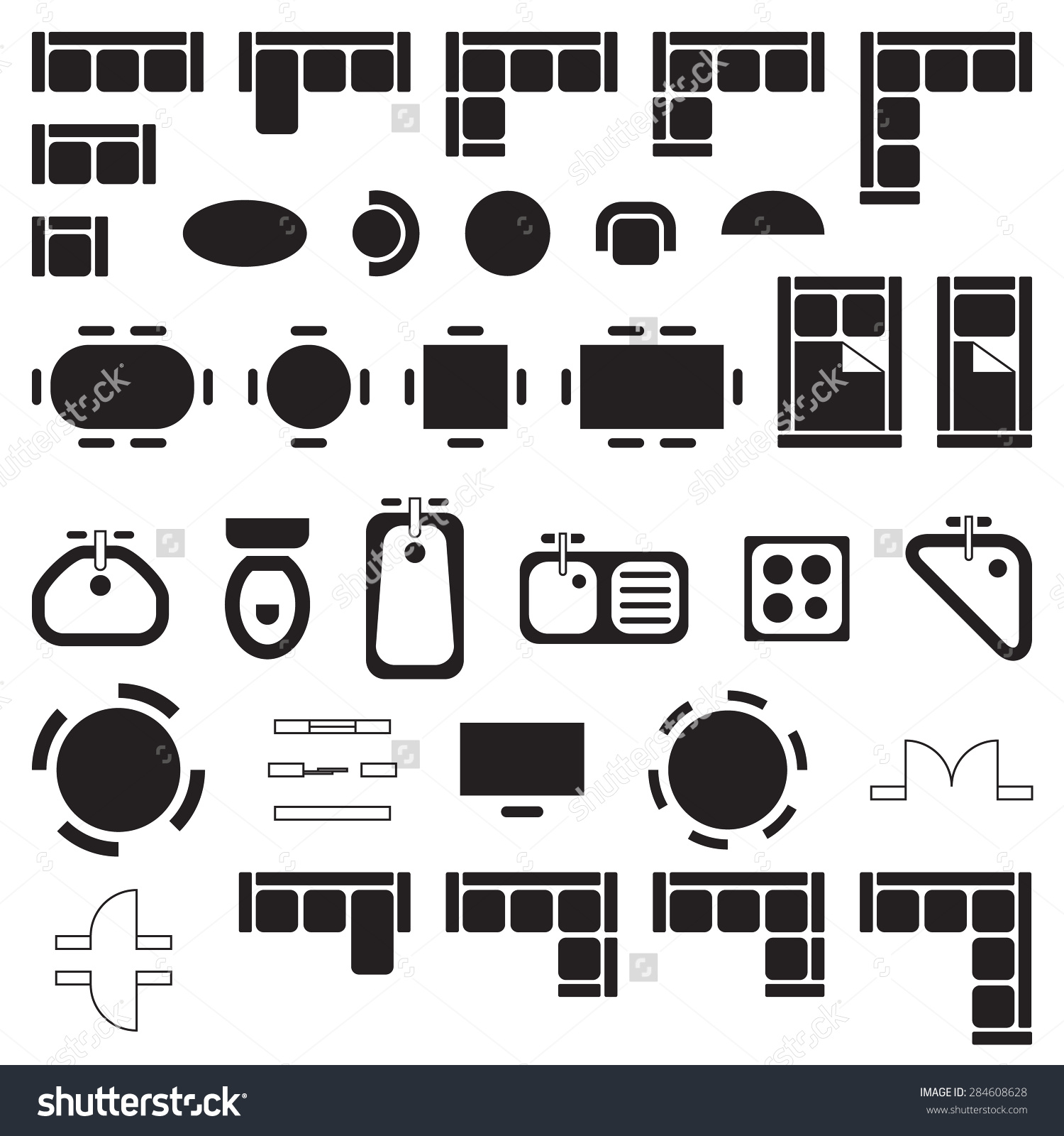 Architectural icons clipart.