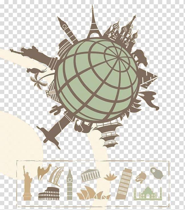 Globe World Landmark , Simple Earth architectural elements.