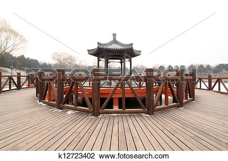 Clip Art of pavilion in a park, traditional Chinese architectural.