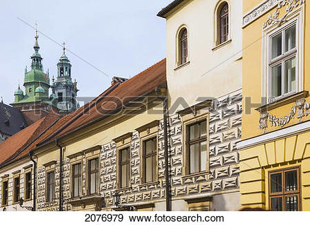 Stock Photograph of Church bell towers of the wawel royal castle.