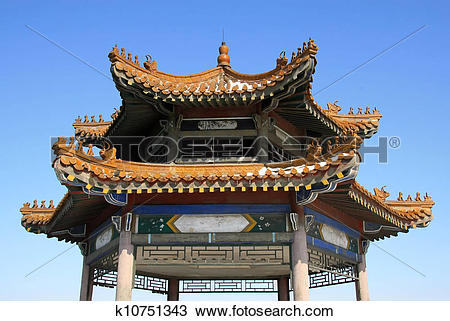 Drawing of traditional Chinese architectural style of the horns of.