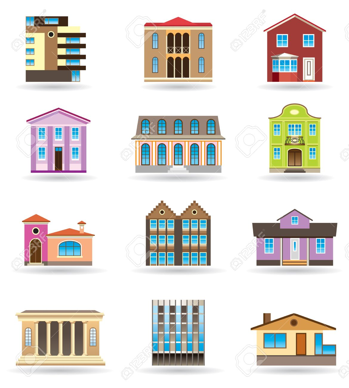 Buildings And Houses In Different Architectural Styles Royalty.