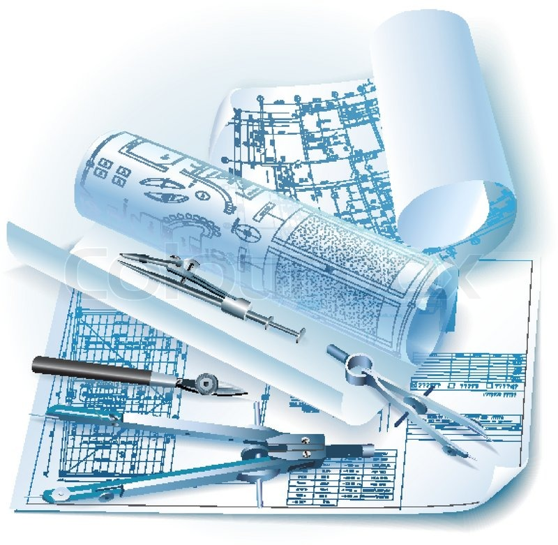 Architectural background with drawing.