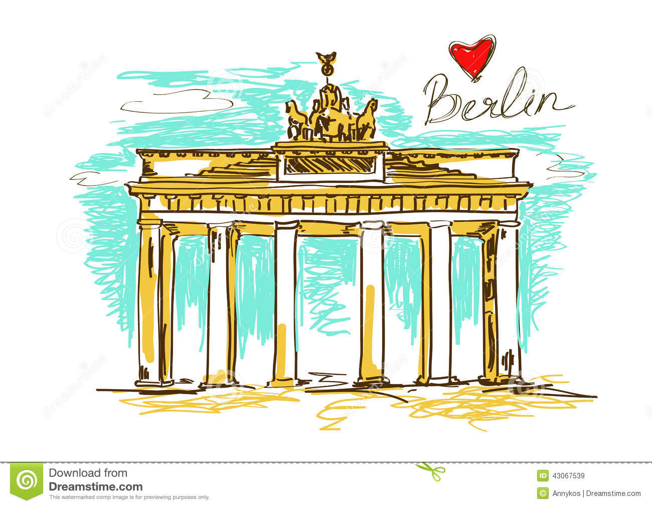 Illustration Of Brandenburg Gate In Berlin Stock Vector.